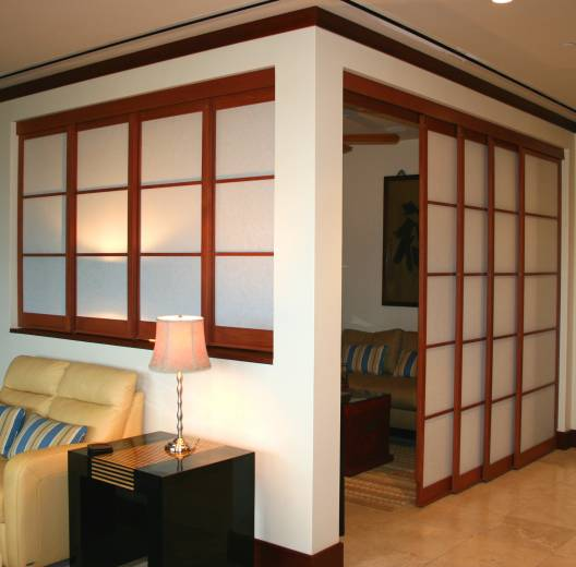 open den converted with Shoji sliding panels